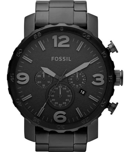 relógio fossil masculino cronógrafo nate preto jr1401 c/ nf