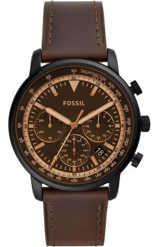 relógio fossil masculino fs5529/0mn 44mm couro marrom origin