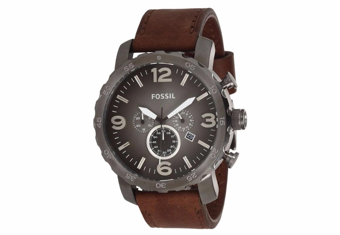 8577f88432779 Relógio Fossil Masculino Jr1424 Nate Couro Marrom Original - R  842,00 em  Mercado Livre