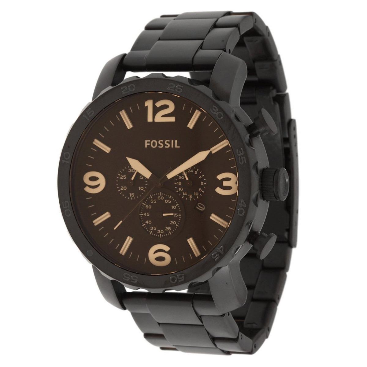 0c1367b80c2c0 Relógio Fossil Masculino Nate Jr1356 Preto Marrom Original - R  844,00 em  Mercado Livre