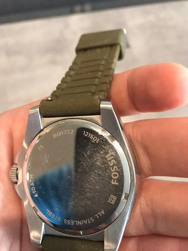 relogio fossil - pulseira de silicone verde - modelo bq1722