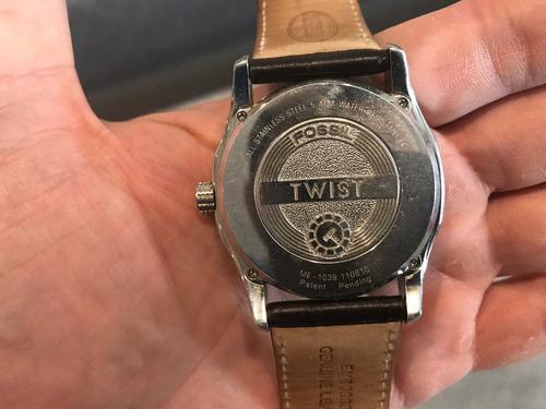 relogio fossil twist - pulseira couro preta - modelo me1038