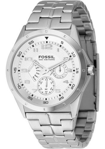 relógio fossil unisex multicalendário aço 10atm