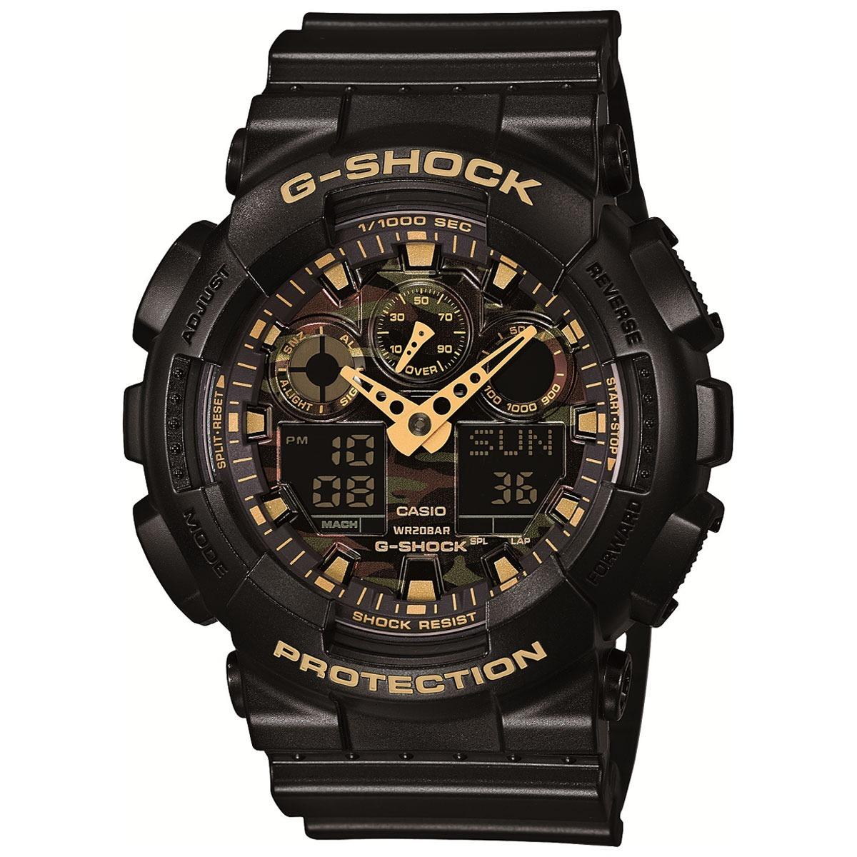 f168e347537 relógio g-shock analógico ga-100cf - preto e dourado. Carregando zoom.