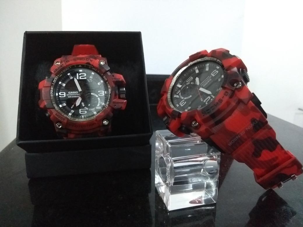 c3acab79409 Relógio G-shock Camuflado Militar Vermelho Com Caixa - R  59