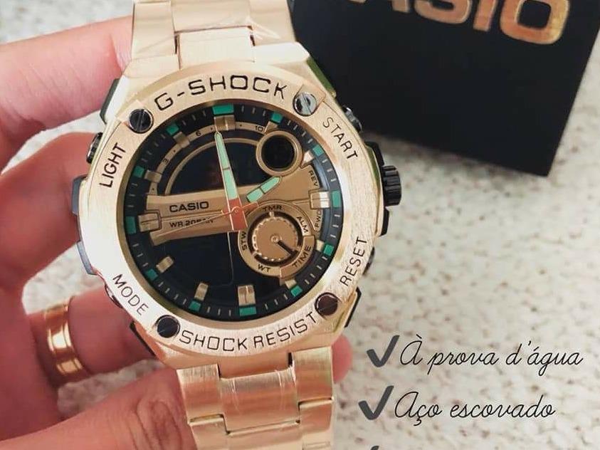 5f408e4ec6e relógio g-shock dourado caixa e pulseira de aço. Carregando zoom.