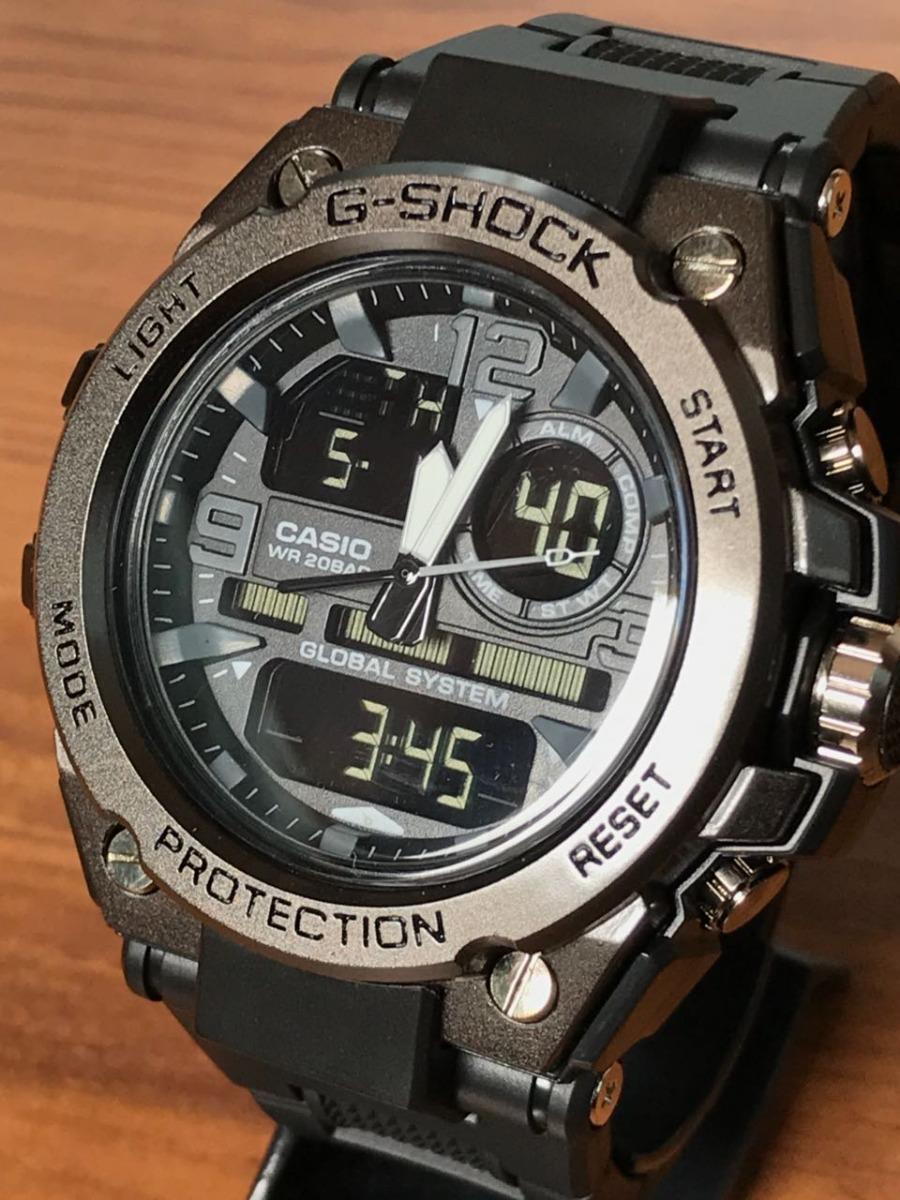 60c10070237 relógio g-shock prata dourado branco pulseira de borracha. Carregando zoom.