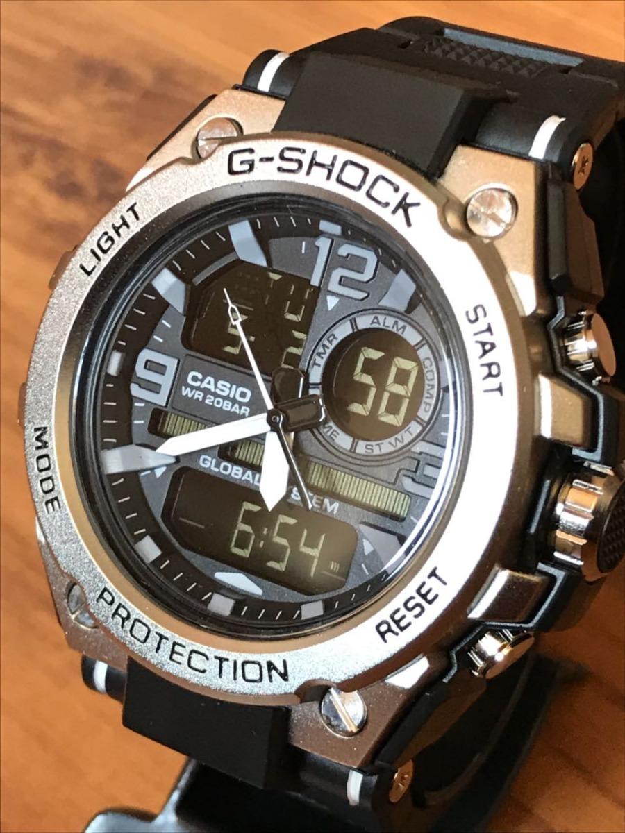 fd50d2cd40c Relógio G-shock Prata Dourado Branco Pulseira De Borracha. - R  59 ...