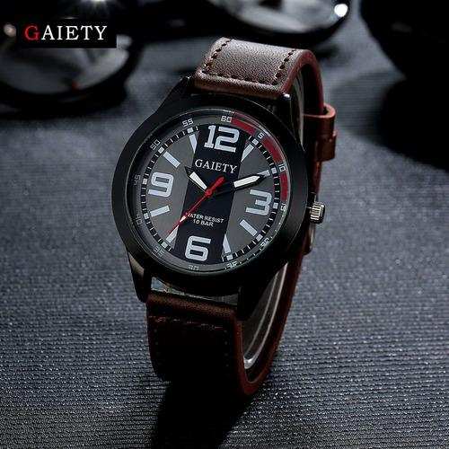 relógio gaiety masculino pulseira de couro resistente à água