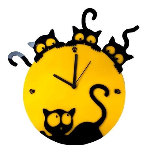 relógio gato parede cozinha petshop animais personalize