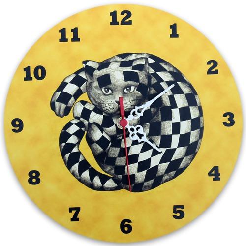 relógio gato xadrez