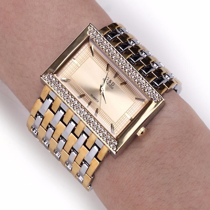 311c1be5a95 relógio g d feminino quartzo de aço luxo dourado com prata. Carregando zoom.
