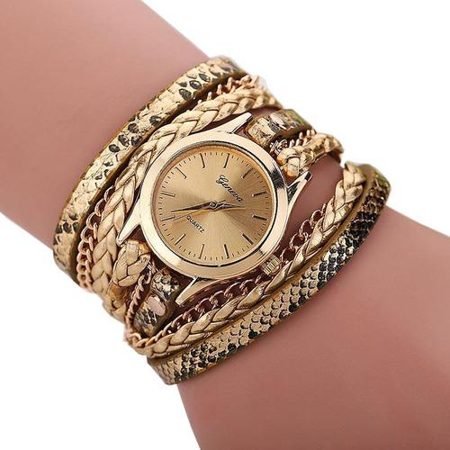 relógio geneva carude/duoya 2814 feminino dourado com caixa