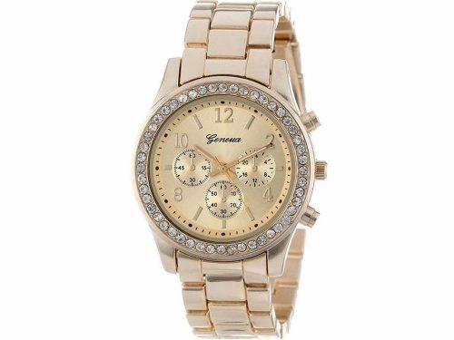 3659c17b830 Relógio Geneva Feminino Dourado Pulseira De Aço Com Strass - R  34 ...