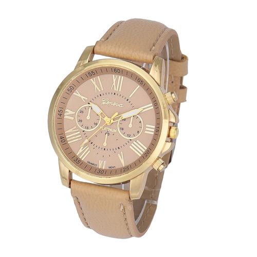 relogio geneva feminino dourado, pulseira de couro, barato