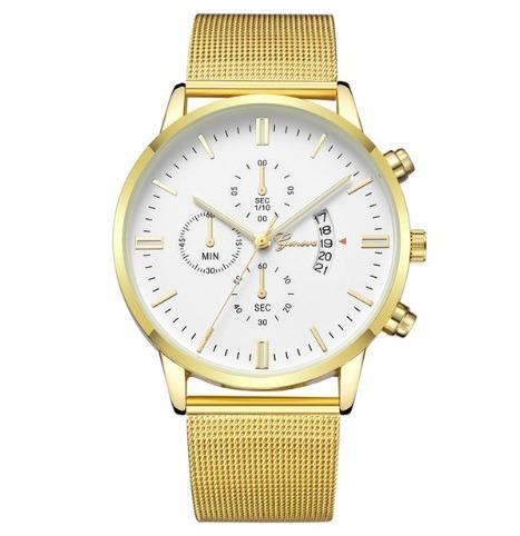 507b5996933 Relógio Geneva Novo Modelo 2019 Moderno Calendário Aço Inox - R  55 ...