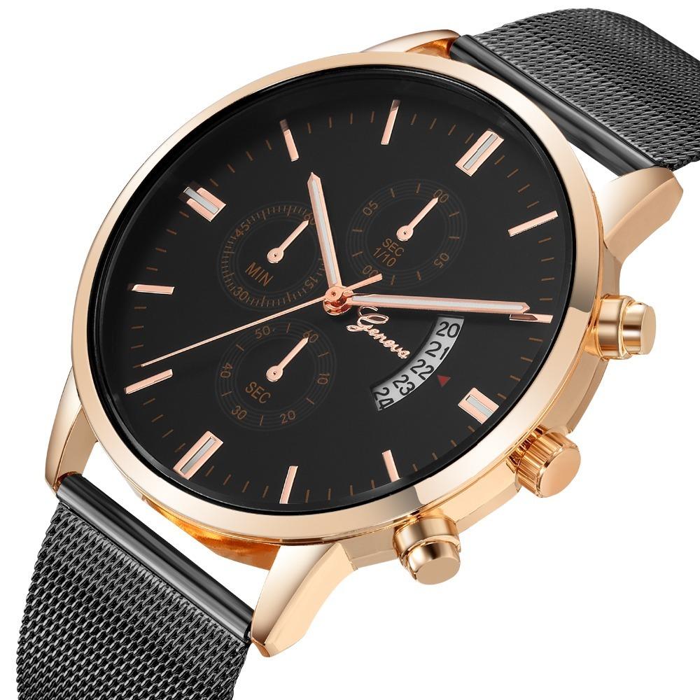 0ddb9879632 relógio geneva novo modelo 2019 moderno calendário aço inox. Carregando  zoom.