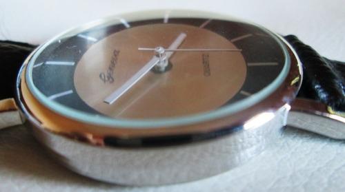 relógio geneva, quartz, pulseira tipo couro
