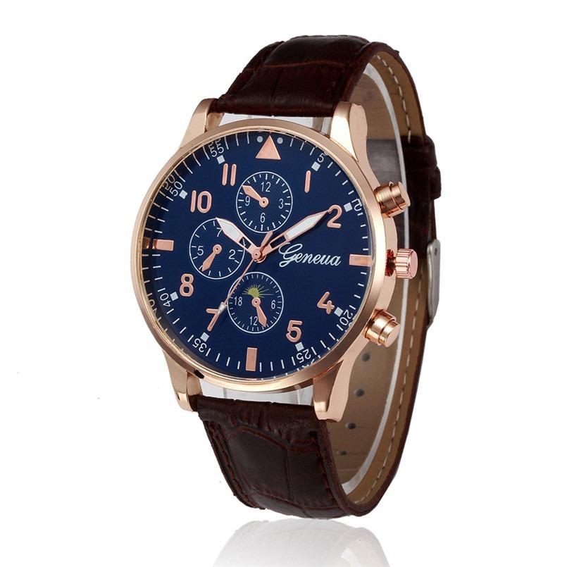 b6491e5b0d3 Relógio Geneva W-238 Masculino Pulseira Couro Mostrador Azul - R  123