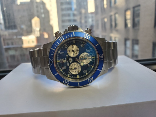 relógio glycine combat quartz azul