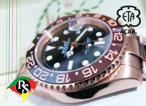 relógio gmt master preto chocolate rose hip hop cerâmica