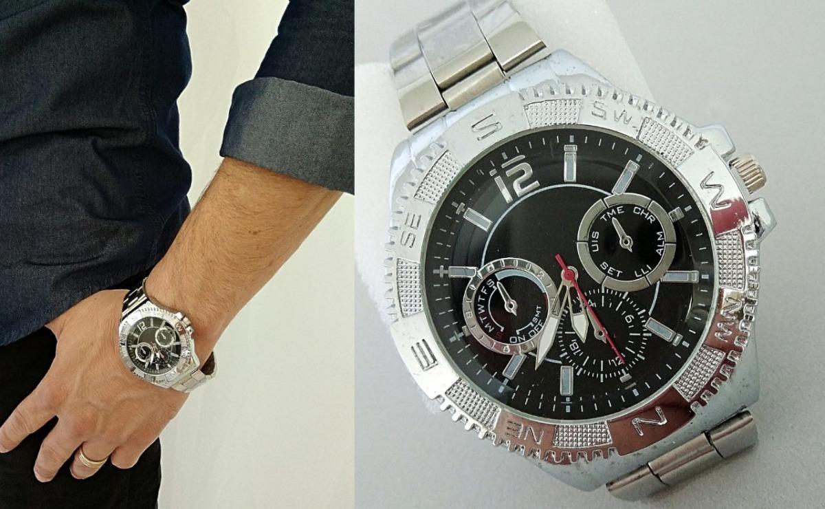 4dc9e2b28b7 Relógio Grande De Aço De Pulso Pulseira Prateada Masculino - R  44 ...
