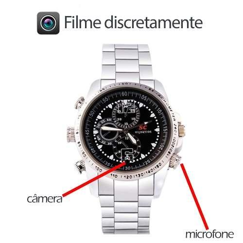 c8370cf3d63 Relogio Grande De Pulso Masculino Camera Espionagem Micro - R  129 ...