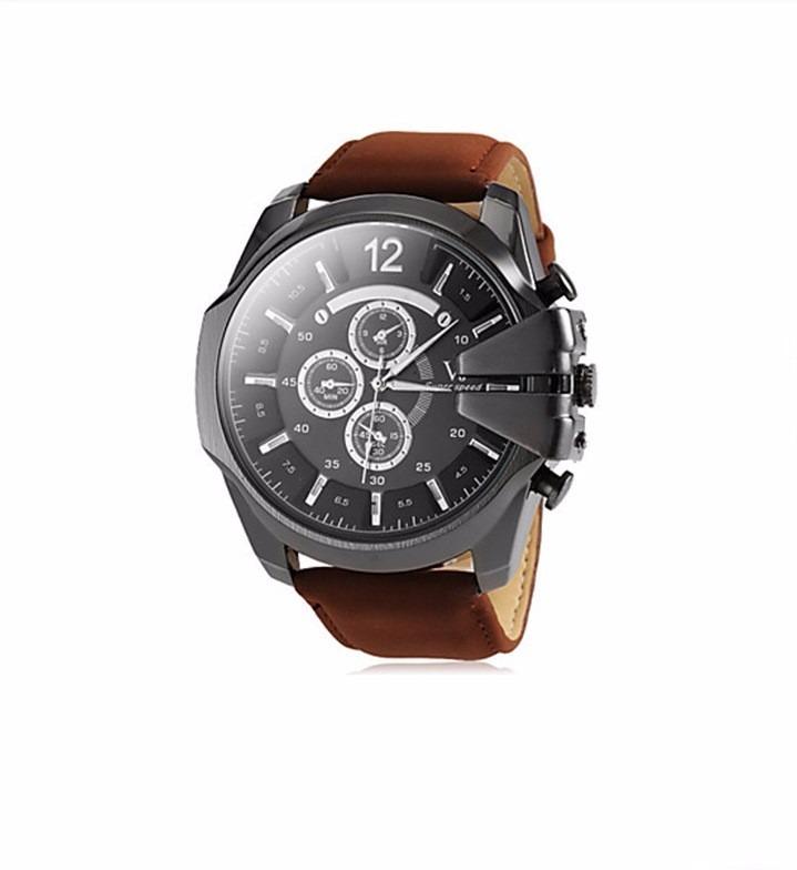 2f772c8d003 Relógio Grande Masculino De Pulso Pulseira De Couro Marrom - R  95 ...