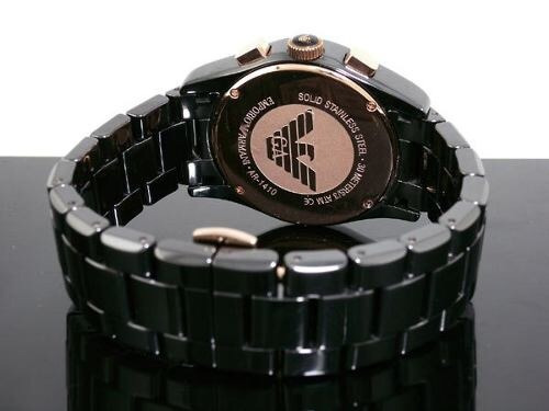 d2bbc8f275a Relógio Gt5 Empório Armani Ar1410 Ceramica Preto Dourado - R  335