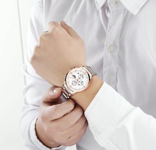 relógio guanqin masculino feminino inox cronógrafo sku198