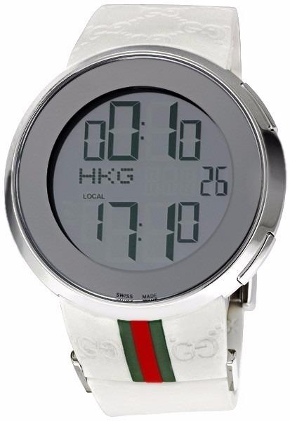 126e8ae20b7 Relógio Gucci Digital Pulseira De Borracha Branco Ou Preto - R  494 ...