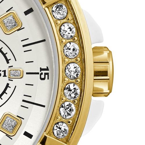 relógio guess branco dourado strass original 92688lpgsdu2