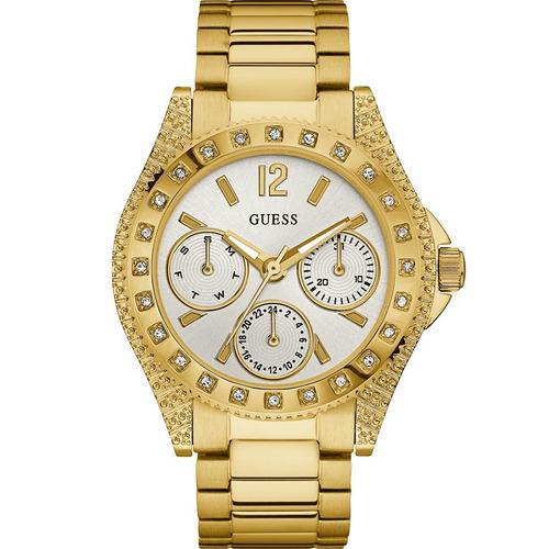 relógio guess feminino dourado strass original 92636lpgsda2