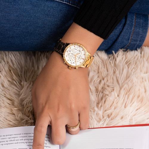 relógio guess feminino dourado strass original 92670lpgsda1