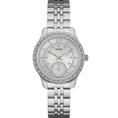 relógio guess feminino prata strass original 92634l0gdna1