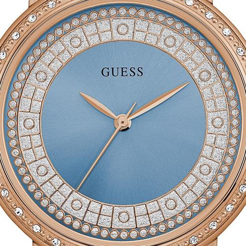 relógio guess feminino rosê strass original nfe 92288lpgdra6