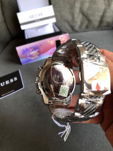 relogio guess iconi w1046g1 prata carbon 100% original