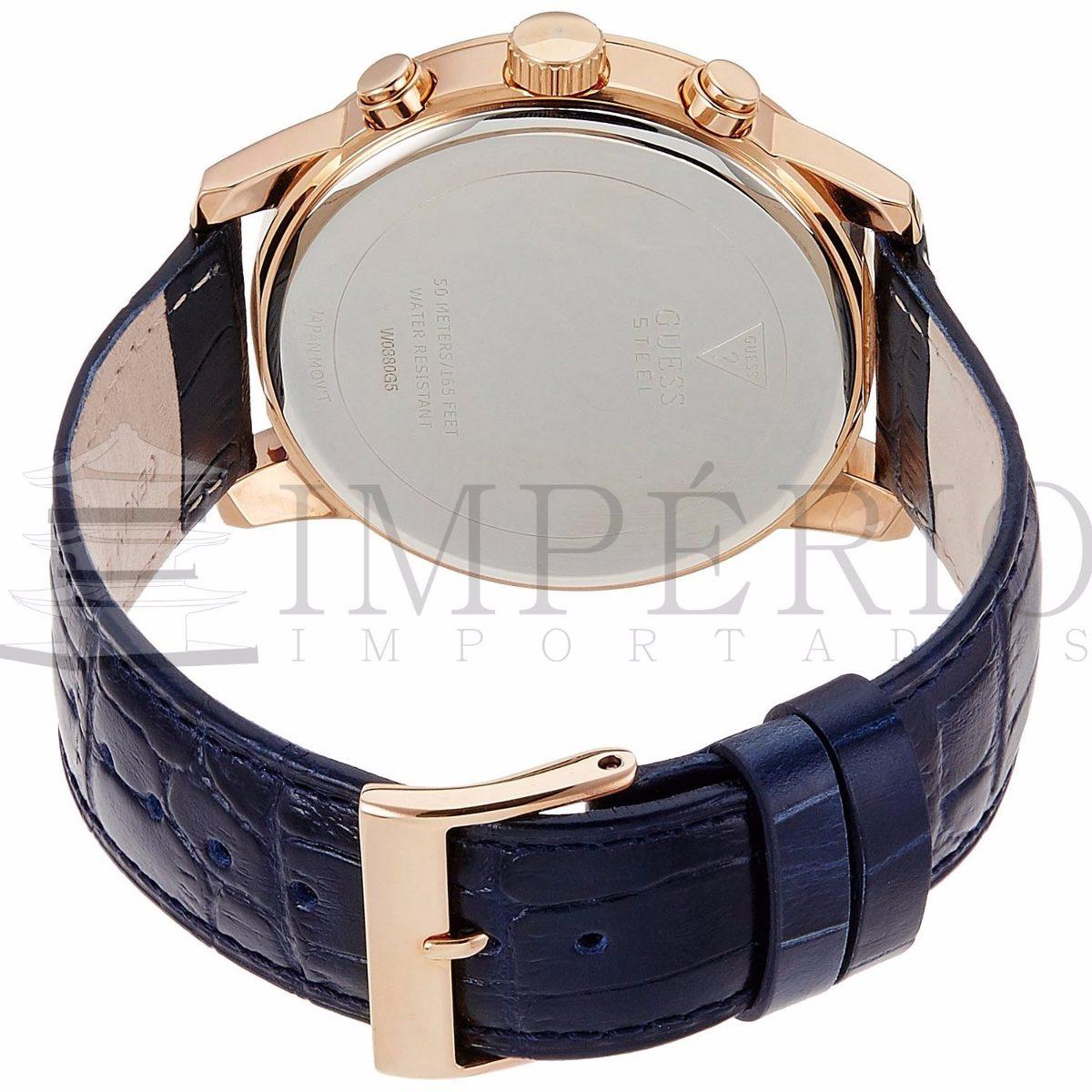 726307d4020 Relógio Guess W0380g5 Masculino Couro Azul 100% Original - R  525