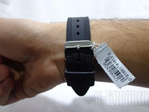 relogio guess preto pulseira silicone u10663g6 original pron