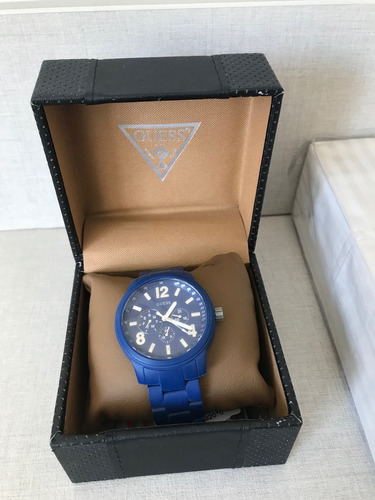 relógio guess u0185g4 men's blue cool sport watch original