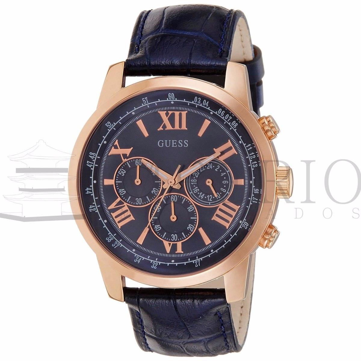 e4c35d872e2 relógio guess w0380g5 masculino couro azul 100% original. Carregando zoom.