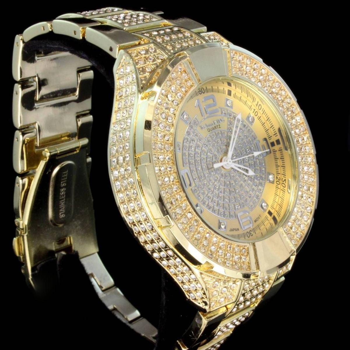 Relógio Hip Hop Dourado 2 Luxo Com Brilhantes Invict