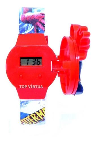 relógio homem aranha de montar 4 tampas infantil original