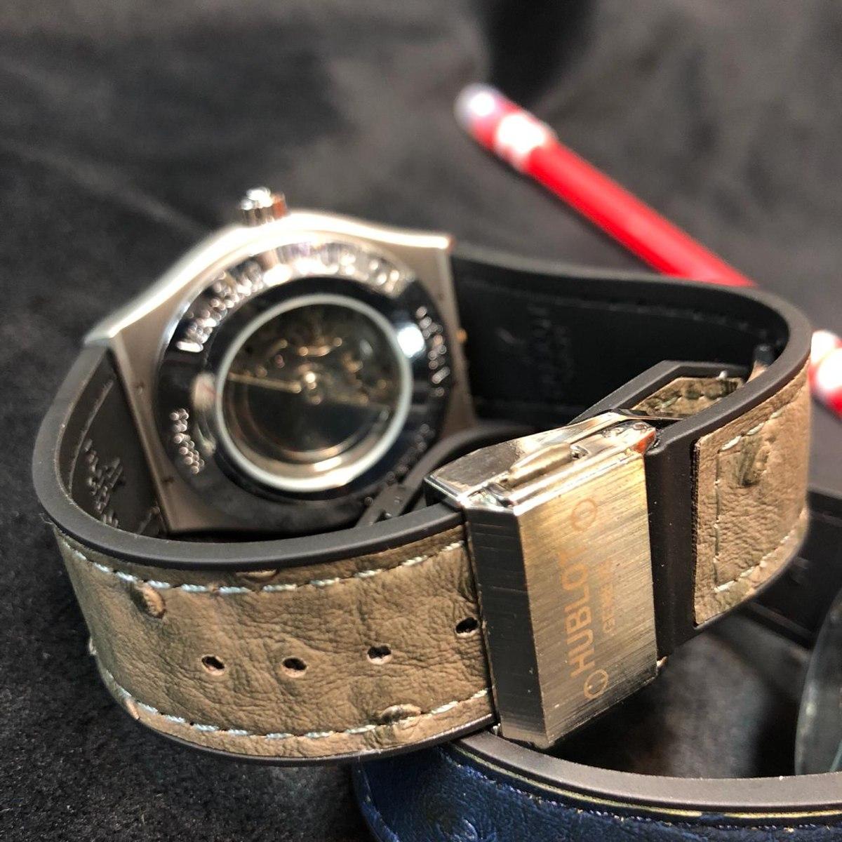 dbfec97713e relógio hublot automático sol e lua pulseira em couro. Carregando zoom.