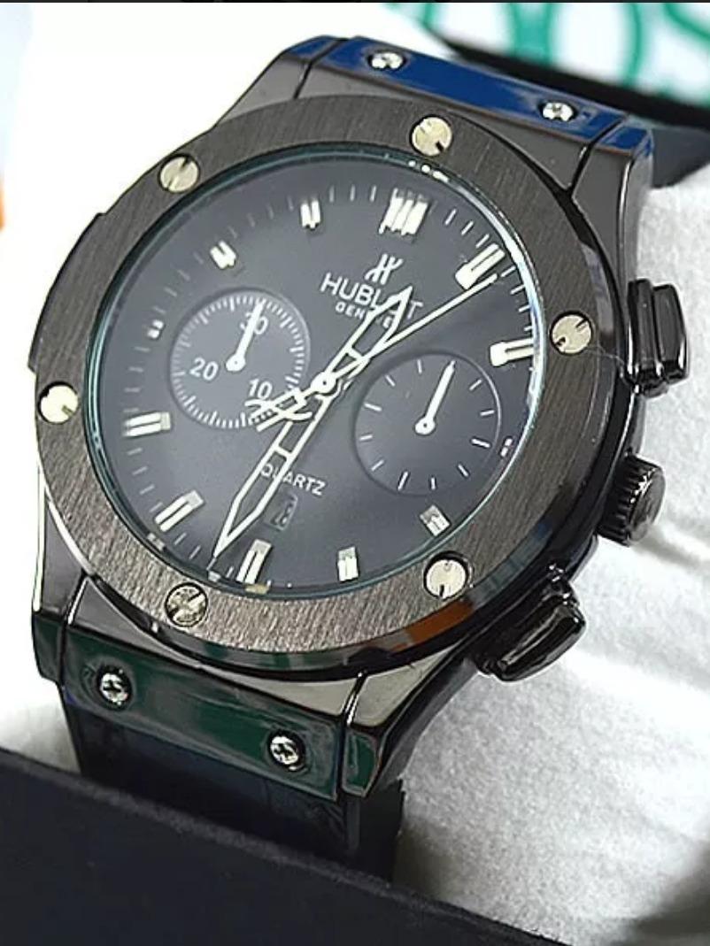 19244b73617 relógio hublot geneve couro borracha preto. Carregando zoom.