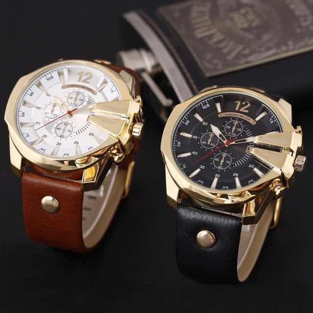 f8fd41d34e2 Relógio Importado Curren 8176 Masculino Dourado Preto Couro - R  95 ...
