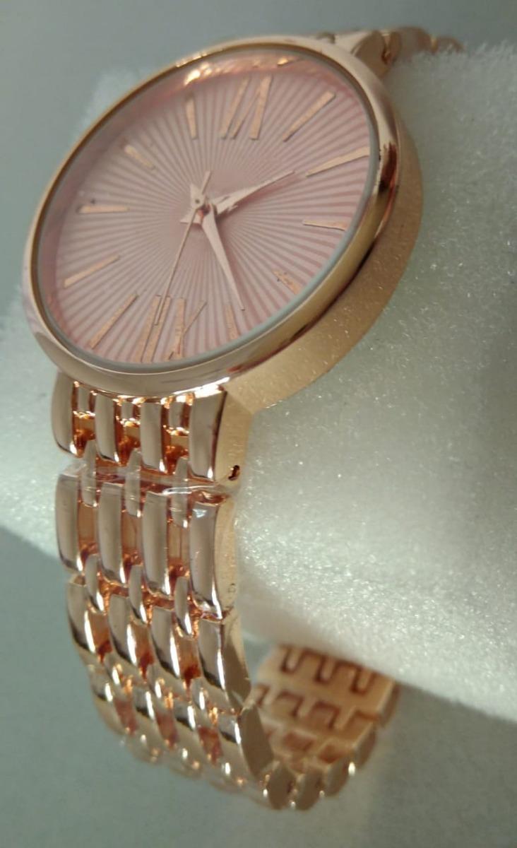 94b111656f9 relógio importado feminino dourado rosa analógico estiloso. Carregando zoom.