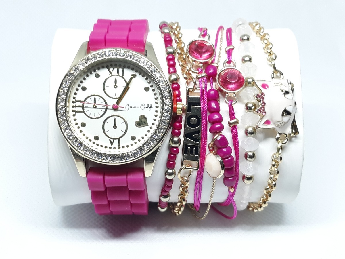 cefef299754 relógio importado feminino pink e dourado - jessica carlyle. Carregando zoom .