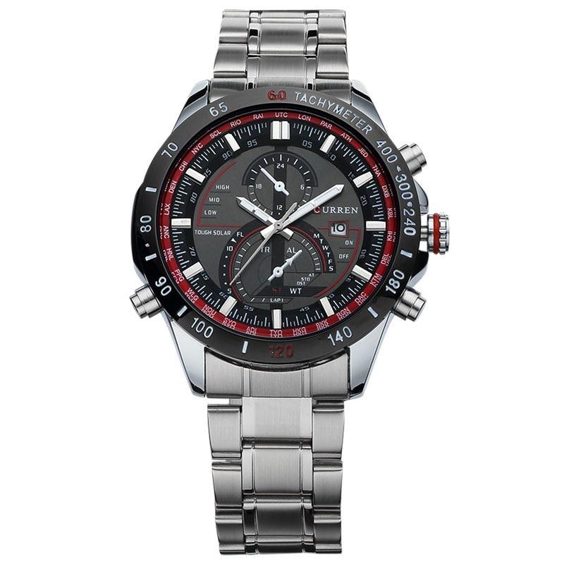 b2b372f4361 relógio importado masculino luxo curren 8149 aço fundo preto. Carregando  zoom.