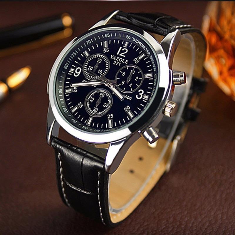 47ab1f221b8 Relógio Importado Masculino Yazole Puseira De Couro Barato - R  49 ...